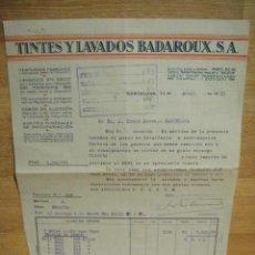 Facturas antiguas: FACTURA DE TINTES Y LAVADOS BADAROUX - BARCELONA 1931. Lote 37318067