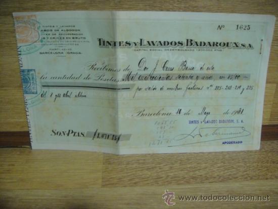 RECIBO DE TINTES Y LAVADOS BADAROUX - - BARCELONA 1931 (Coleccionismo - Documentos - Facturas Antiguas)