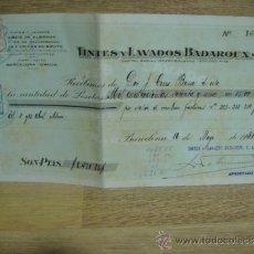 Facturas antiguas: RECIBO DE TINTES Y LAVADOS BADAROUX - - BARCELONA 1931. Lote 37318182