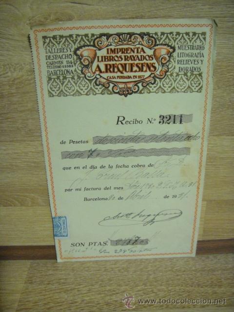 RECIBO DE IMPRENTA LIBROS RAYADOS A. REQUESENS - - BARCELONA 1931 (Coleccionismo - Documentos - Facturas Antiguas)