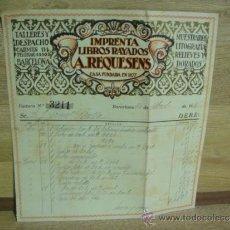 Facturas antiguas: FACTURA DE IMPRENTA LIBROS RAYADOS A. REQUESENS - - BARCELONA 1931. Lote 37318244