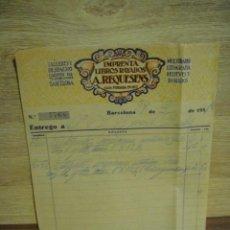 Facturas antiguas: ALBARAN DE ENTREGA DE IMPRENTA LIBROS RAYADOS A. REQUESENS - - BARCELONA 1931. Lote 37318261