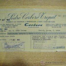 Facturas antiguas: RECIBO DE PEDRO CORBERO TREPAT ( COCINAS CORBERO ) - BARCELONA 1960. Lote 37318378
