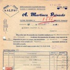 Facturas antiguas: FACTURA DE A. MARTÍNEZ PEINADO. MANUFACTURAS METALICAS. MISLATA (VALENCIA) 1961. Lote 37323804