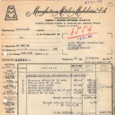 Facturas antiguas: FACTURA DE MANUFACTURAS METÁLICAS MADRILEÑAS, S. A. PAMPLONA 1958. Lote 37323842