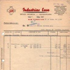 Fatture antiche: FACTURA DE INDUSTRIAS EASO. METALES ARTISTICOS - GALVANOPLASTIA. SAN SEBASTIAN 1956. Lote 37325243
