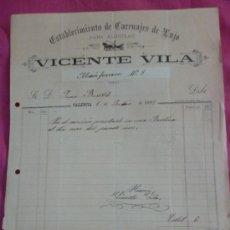Fatture antiche: VALENCIA. CARRUAJES. 1899. Lote 37356345