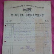 Fatture antiche: VALENCIA. CARRUAJES. 1895. Lote 37356351