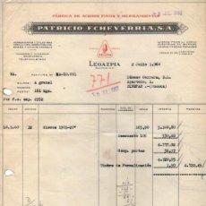 Facturas antiguas: FACTURA DE PATRICIO ECHEVERRIA, S. A. FABRICA DE ACEROS FINOS Y HERRAMIENTAS. LEGAZPIA (GUIP.). 1960. Lote 37374293
