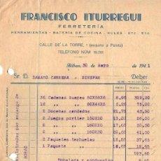 Faturas antigas: FACTURA DE FRANCISCO ITURREGUI. FERRETERIA. BILBAO. 1941. Lote 37378509