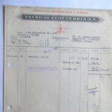 Facturas antiguas: FACTURA / FABRICA DE HERRAMIENTAS Y ACEROS / PATRICIO ECHEVERRIA / LEGAZPIA 1945 / GUIPUZCOA. Lote 37500509
