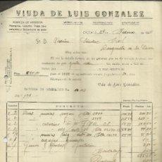 Facturas antiguas: FACTURA DE VIUDA DE LUIS GONZÁLEZ. ALMACÉN DE MERCERÍA. CÁCERES. 1944. Lote 37578918