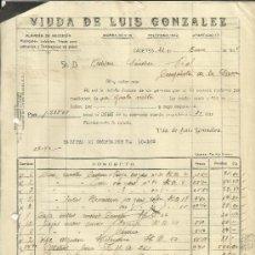 Facturas antiguas: FACTURA DE VIUDA DE LUIS GONZÁLEZ. ALMACÉN DE MERCERÍA. CÁCERES. 1944 . Lote 37578955