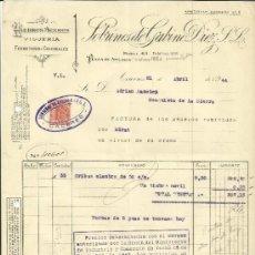 Facturas antiguas: FACTURA DE SOBRINOS DE GABINO DÍEZ. S.L. HIERROS Y ACEROS. CÁCERES. 1944. Lote 37579012