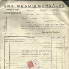 Facturas antiguas: FACTURA DE VIUDA DE LUIS GONZÁLEZ. ALMACÉN DE PAQUETERÍA. CÁCERES. 1945. Lote 37579021