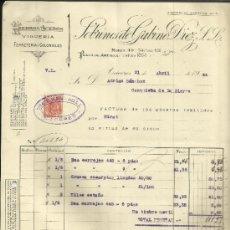 Facturas antiguas: FACTURA DE SOBRINOS DE GABINO DÍEZ. S.L. HIERROS Y ACEROS. CÁCERES. 1944. Lote 37579042