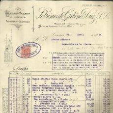 Facturas antiguas: FACTURA DE SOBRINOS DE GABINO DÍEZ. S.L. HIERROS Y ACEROS. CÁCERES. 1944. Lote 37579053