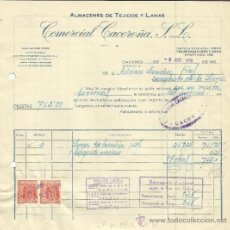 Facturas antiguas: FACTURA DE COMERCIAL CACEREÑA, S.L. ALMACÉN DE TEJIDOS Y LANAS. CÁCERES. 1958. Lote 37579298