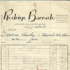 Facturas antiguas: FACTURA DE RODRIGO BARRADO. ALMACÉN DE COLONIALES. TRUJILLO. CÁCERES. 1955. Lote 37580091