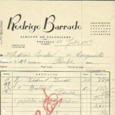 Facturas antiguas: FACTURA DE RODRIGO BARRADO. ALMACÉN DE COLONIALES. TRUJILLO. CÁCERES. 1956. Lote 37580103