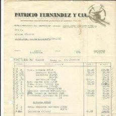 Facturas antiguas: FACTURA DE PATRICIO FERNÁNDEZ Y Cª. ALMACENES DE HIERROS. CÁCERES. 1955. Lote 37580134