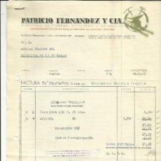 Facturas antiguas: FACTURA DE PATRICIO FERNÁNDEZ Y Cª. ALMACENES DE HIERROS. CÁCERES. 1955. Lote 37580150