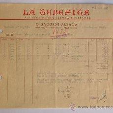 Facturas antiguas: FACTURA / TALLERES DE ESCULTURA RELIGIOSA / LA TERESITA / VIC 1960 / BARCELONA. Lote 37599605