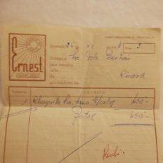 Facturas antiguas: INTERESANTE. RECIBO. ERNEST GENEROS DE PUNTO. IGUALADA 1958. Lote 37776273