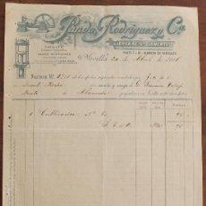 Facturas antiguas: FACTURA: PANDO RODRIGUEZ Y Cª, FABRICA DE SAN CLEMENTE, SEVILLA DIRIGIDA A ALAMEDA MALAGA 1906. Lote 37879679