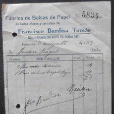 Facturas antiguas: (6958)FACTURA,NOTA ENTREGA,FCA.BOLSAS DE PAPEL F.BARDISA TOMAS,VALENCIA 1933,CONSERVACION: . Lote 38116764