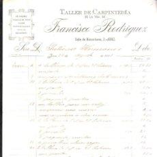 Facturas antiguas: FACTURA DEL TALLER DE CARPINTERIA DE LA VDA. DE FRANCISCO RODRIGUEZ. 4 PAGINAS. JEREZ, CADIZ. 1901. Lote 38118090