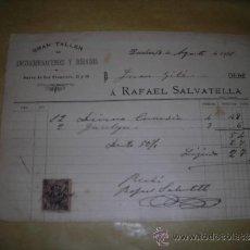 Facturas antiguas: BARCELONA - FACTURA 1901 A.RAFAEL SALVATELLA GRAN TALLER DE ENCUADERNACIONES Y DORADOS ,C.NUEVA DE S. Lote 38239132