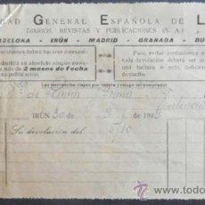 Factures anciennes: (4346)RECIBO 19X10 CM,SOCIEDAD GENERAL ESPAÑOLA DE LIBRERIA,IRUN 1929,. Lote 38352962