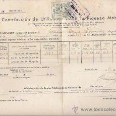 Facturas antiguas: FACTURA DE CONTRIBUCION DE UTILIDADES SOBRE LA RIQUEZA MOBILIARIA 1942. Lote 38682554