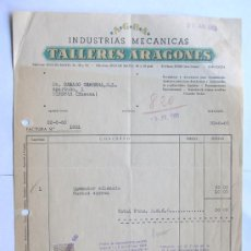 Facturas antiguas: FACTURA / INDUSTRIAS MECANICAS / TALLERES ARAGONES / ZARAGOZA 1960. Lote 39088680