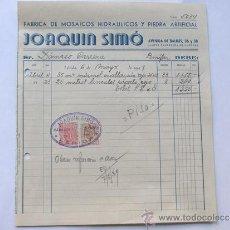 Facturas antiguas: FACTURA / FABRICA DE MOSAICOS HIDRAULICOS Y PIEDRA ARTIFICIAL / JOAQUIN SIMO / LERIDA 1945. Lote 39089488