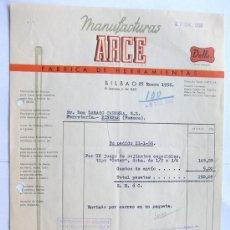 Facturas antiguas: FACTURA / MANUFACTURAS ARCE / FABRICA DE HERRAMIENTAS / BILBAO 1956 / VIZCAYA. Lote 39091554