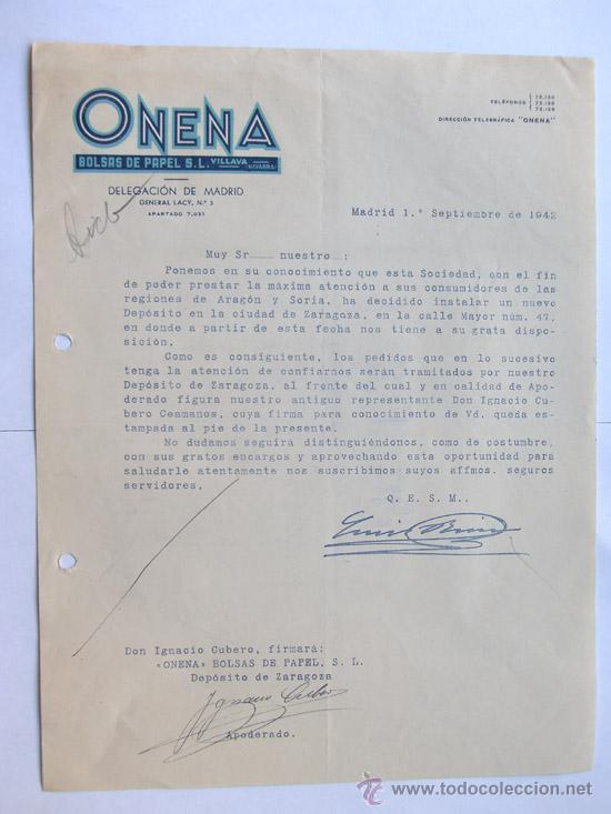 Papel Madrid 1942 Comercial Carta Bolsas De Onena trdshCxQ