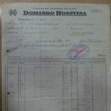 Facturas antiguas: FACTURA DE DOMINGO HOSPITAL FABRICA DE GENEROS DE PUNTO. BARCELONA. MARZO 1931.. Lote 39314849