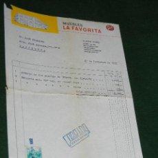 Facturas antiguas: FACTURA MEMBRETE MUEBLES LA FAVORITA - 1962. Lote 39673844