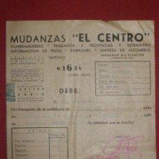 Facturas antiguas: FACTURA MUDANZAS EL CENTRO - 1940 - F. GIL STAUFFER - MUNDANZA EN MADRID -. Lote 40527395