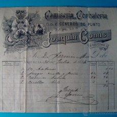 Facturas antiguas: FACTURA AÑO 1894 CAMISERIA CORBATERIA Y GENEROS DE PUNTO JOAQUIN COMIS, VALENCIA. Lote 40532813