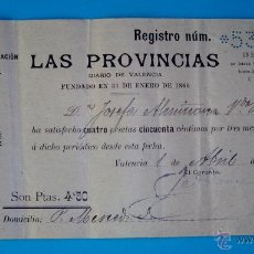 Facturas antiguas: RECIBO DE SUSCRIPCION PERIODICO LAS PROVINCIAS AÑO 1902, VALENCIA. Lote 40532869