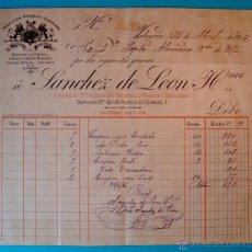 Facturas antiguas: FACTURA AÑO 1894 SANCHEZ DE LEON HERMANOS, MANUFACTURAS NACIONALES Y EXTRANJERAS, VALENCIA. Lote 40570673