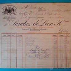 Facturas antiguas: FACTURA AÑO 1894 SANCHEZ DE LEON HERMANOS, MANUFACTURAS NACIONALES Y EXTRANJERAS, VALENCIA. Lote 40570695