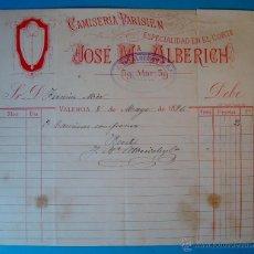 Facturas antiguas: FACTURA AÑO 1896 JOSE Mª ALBERICH CAMISERIA PARISIEN ESPECIALIDAD EN EL CORTE, VALENCIA. Lote 40570749
