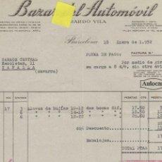 Facturas antiguas: FACTURA BAZAR AUTOMOVIL VILA BARCELONA CATALUÑA NEUMATICO LUBRICANTES GARAJE VEHICULOS. Lote 40876300