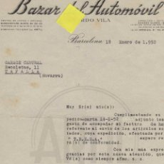 Facturas antiguas: FACTURA BAZAR AUTOMOVIL VILA BARCELONA CATALUÑA NEUMATICO LUBRICANTES GARAJE VEHICULOS. Lote 40876366