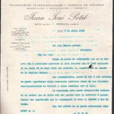 Facturas antiguas: FACTURA IRUN -GUIPUZCOA- HENDAYA AÑO 1931 TRANSPORTES JUAN JOSE PETIT. Lote 40898296