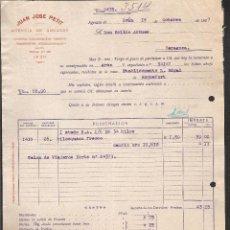 Facturas antiguas: FACTURA IRUN -GUIPUZCOA- AÑO 1927 AGENCIA DE ADUANAS JUAN JOSE PETIT. Lote 40898977
